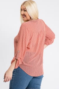 Comfy V-Neck Top - Terracotta - Back