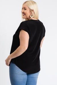 Much Needed Short Sleeve Top - Black - Back