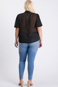 Dot Print Blouse - Black - Back