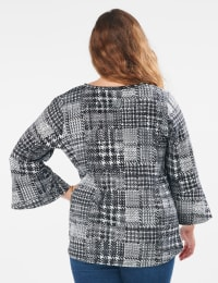 Houndstooth Twist Front Knit Top - Plus - Black/White - Back