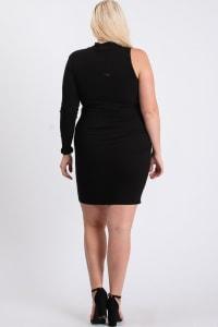 One-Shoulder Sexy Dress - Black - Back