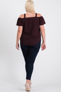 Striped Cold-shoulder Top - Burgundy - Back