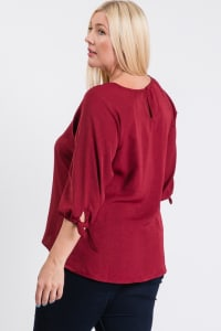 Daily Use Poly Linen Top - Burgundy - Back