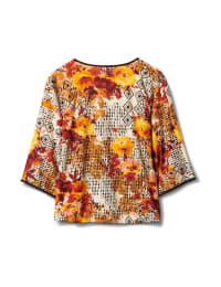 Kimono Sleeve Patchwork Tie Front Top - Gold/Mauve - Back
