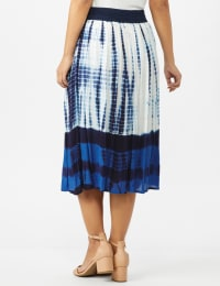 Rayon Gauze Skirt with Decorative Waistband - Blue/white - Back
