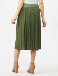 Rayon Gauze Skirt with Decorative Waistband - Olive - Back