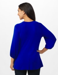 3/4 Sleeve Twist Cut Out Neck Top - Misses - DK Royal - Back