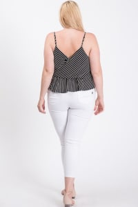 Stripe Surplice Peplum Top - Black - Back