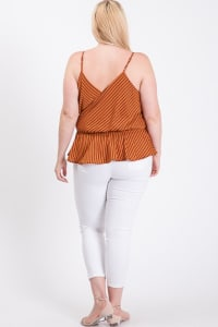 Stripe Surplice Peplum Top - Rust - Back