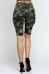 Ripped & Skinny Bermuda Shorts - Army - Back