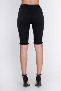 Ripped Distressed Bermuda Shorts - Black - Back