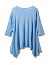 Texture Shark Bite Hem Knit Tunic - Plus - Blue - Back
