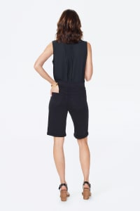NYDJ Pull On Shorts with Rolled Cuff - Black - Back