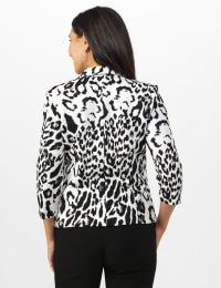 Animal Print Scuba Crepe Jacket with Faux Flap Pockets - Black/white - Back