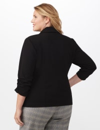 Plus 3/4 Ruched Sleeve Blazer with Faux Besom Pockets - Black - Back