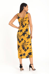 Border Print Tank Dress - Gold/Navy - Back