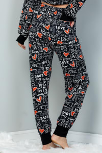 Heart x Love Elastic Casual Pants - Black - Back