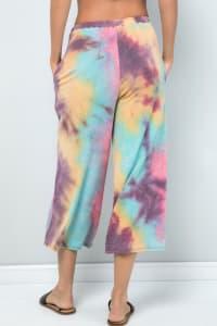 Multi-color Cropped Wide-Leg Pants - Pink magenta - Back