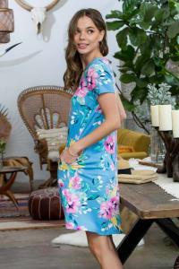 Let It Flow Floral Dress - Blue / Lilac - Back