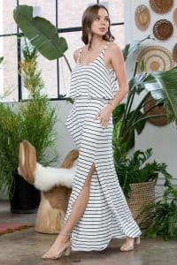 Striped Maxi Dress - Ivory / Black - Back