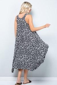 Leopard Tank Dress W/ Handkerchief Hem - Black / Ivory - Back