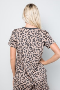 Leopard Print Button Detail Top - Mocha - Back