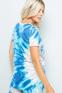 Tie Dye V-Neck Top - Blue - Back