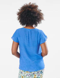 Crochet Trim Square Neck Textured Woven Top - Hydrangea Blue - Back