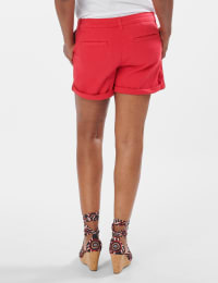 Fly Front Slash Pocket Shorts with Rolled Cuffs - Red - Back