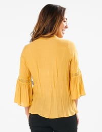 Textured Crochet V Neck Woven Top - MUSTARD - Back
