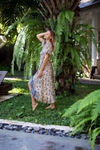 Dahlia Print Wrap Dress - Blue / White - Back