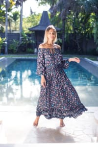 Off-Shoulder Floral Peasant Dress - Navy - Back