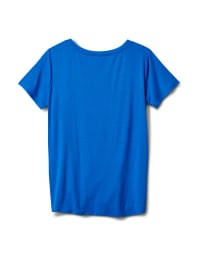 Knot Front Rayon Span Knit Tee - Royal - Back