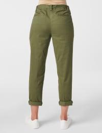 Garment Washed Twill Rolled Hem Tie Waist Pants - Olive - Back