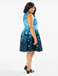 Falling Floral Fit and Flare Dress - Plus - Navy/Teal - Back