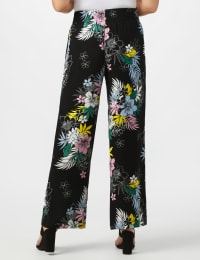 Pull On Novelty Soft Pants with Side Seam Detail - White/Black - Back
