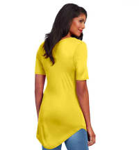 Basic V Neck Long Tee - Yellow - Back