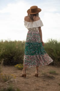 Mixed Media Tiered Skirt - Offwhite/green/mauve - Back