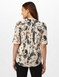Jaquard Floral Pintuck Popover - Taupe/Grey - Back