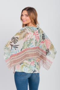 Palm Party Poncho Top - Misses - Green - Back