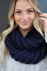 Navy Knit Infinity Scarf - Navy - Back