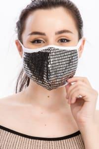 Fancy Sequin Tile Fashion Face Mask - Silver - Back