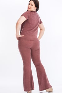 Tie Top And Split Bell Pant Lounge Set - Mauve - Back
