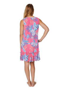 Caribbean Joe Floral Crinkle Gauze Dress - Misses - Pink - Back