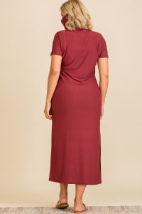 "Never Forget Your Mask"" Turtle Neck Tunic Dress - Plus - Burgundy - Back"
