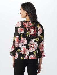 Floral Bubble Hem Blouse with Foil - Black/Rose - Back