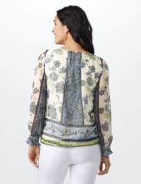 Floral Bubble Hem Blouse - Offwhite/Blue/Green - Back