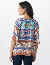 Global Tapestry Peasant Woven Top - Misses - Multi - Back