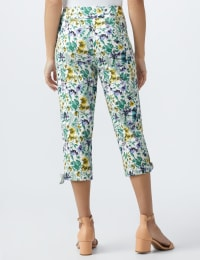 Printed Pull on Pants Tie Hem Capri - Purple combo - Back