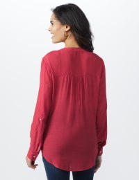 Textured Button Front Roll Tab Shirt - Misses - Deep Claret - Back